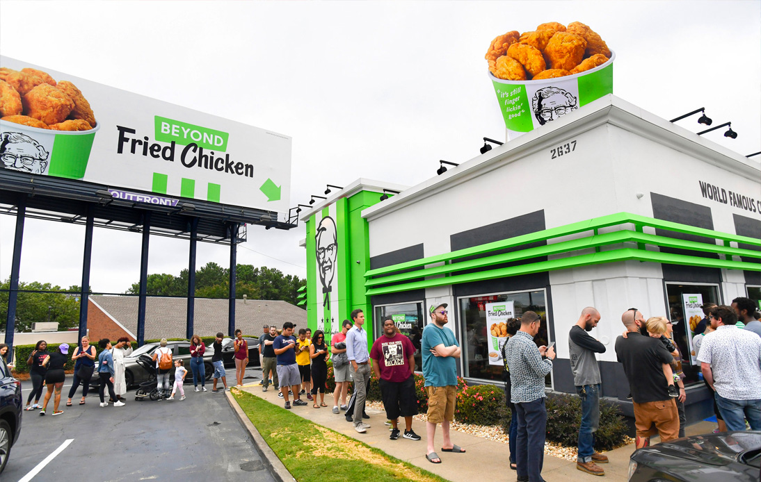 People line up to have a bite on KFC Beyond Fried Chicken